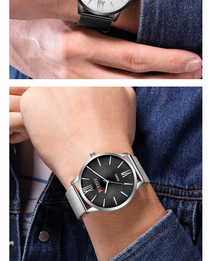 Fashion Rose Gold With Black Surface Large Dial Ultra-thin Alloy Quartz Mens Watch,Men