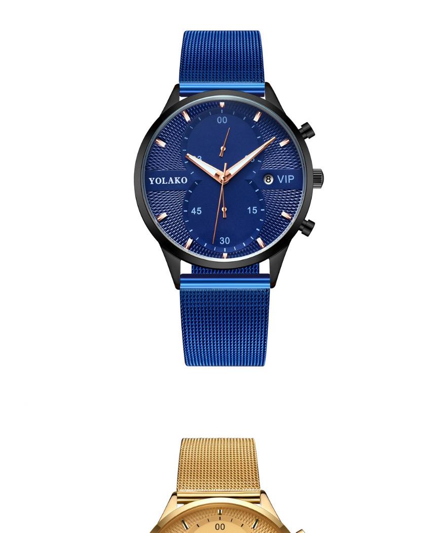 Fashion Blue Ribbon Rose Gold Shell Blue Surface Calendar Ultra-thin Mesh Band Quartz Mens Watch,Men